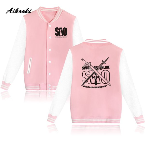 Classic Japan Anime Sword Art Online Baseball Jacket Women Hoodies And Sweatshirts Fashion Clothing Men Cartoon Jackets XXS-4XL