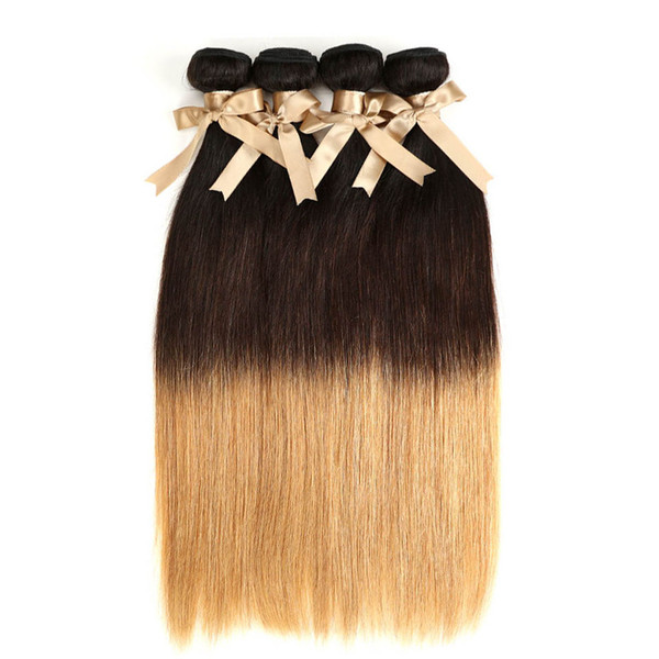 Ombre Düz Saç Atkı T1B / 4/27 Sarışın 4 Paketler Brezilyalı Örgü Düz İnsan Saç Atkı 3 Ton İnsan Saç Uzantıları