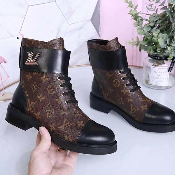 LouisVuittonLV Femmes Chaussures Casual lacets Bottines en cuir Botas Mujer Luxe Moto Bottes Femmes Wonderland Flat Ranger L