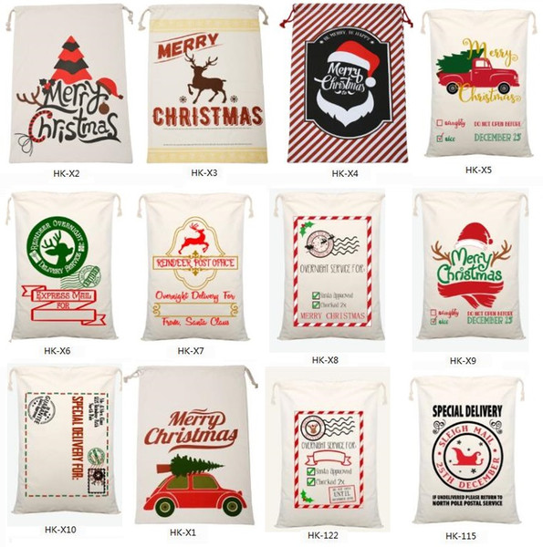 best selling New Christmas Large Canvas Monogrammable Santa Claus Drawstring Bag With Reindeers, Monogramable Christmas Gifts Sack Bags 1050