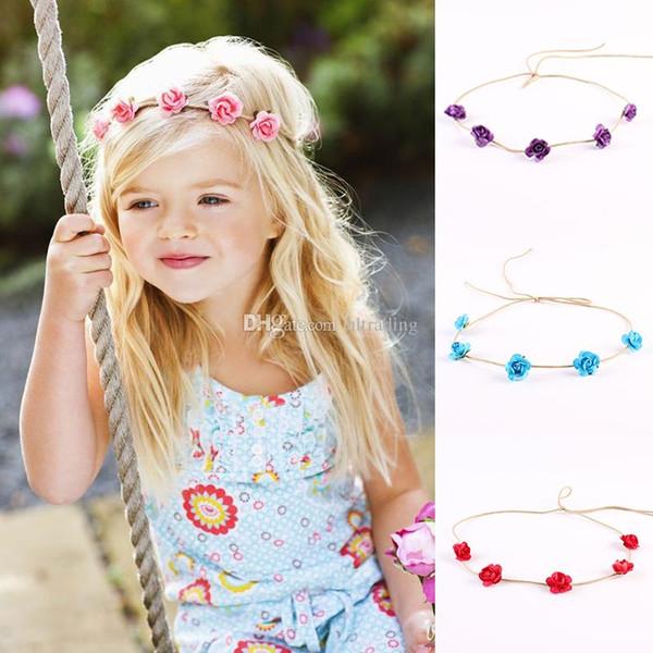 Bebek Çiçek Garlands Moda DIY Gül Bantlar Çiçek Headdress Kız Çelenk Düğün prenses şapkalar Çocuk Saç Aksesuarları C6889