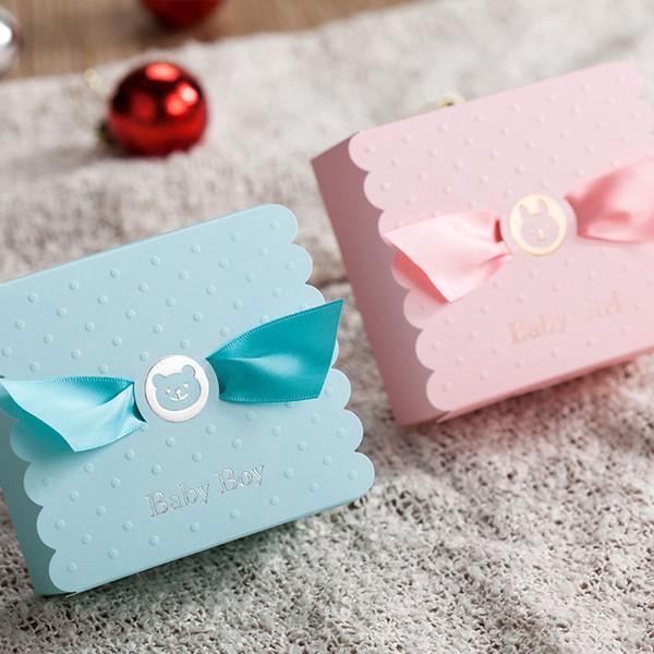 Europäische Junge Mädchen Engel Süßigkeitskästen Duschbevorzugungen Baby Geburtstagsfeier Süße Schokolade Tasche Box Q190603