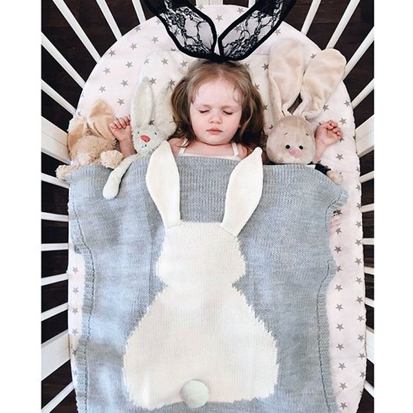 6 Colors 105*75cm Baby Blankets INS Rabbit Ear Swaddling Knitted Animal Bedding Toddler Fashion Swaddle Newborn Bunny Blanket D50