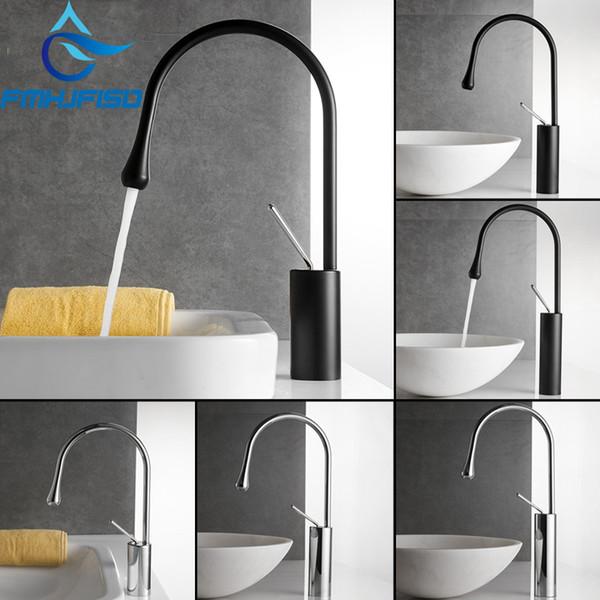 Luxury Modern Black/Chrome Bathroom Basin Faucet Tall Countertop Vanity Sink Mixer Tap