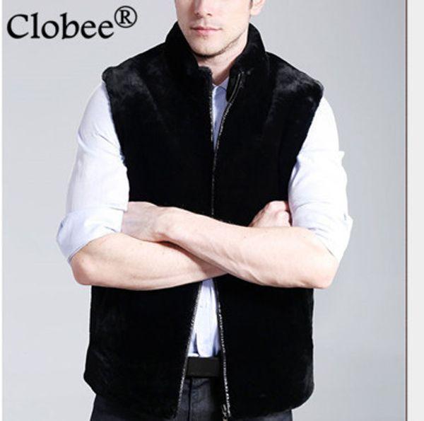 2019 Vetement elegante abrigo de piel de los hombres sin mangas de los hombres negros de piel sintética chaleco abrigo otoño invierno grueso barato chaqueta de visón V549