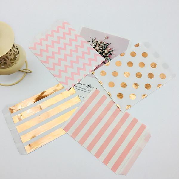 100 pcs 5x7 Polegada Kraft Sacos De Papel Folha De Ouro Rosa Colorido Laranja Teal Preto Rosa Bolinhas Listras Chevron Doces Buffet Bag