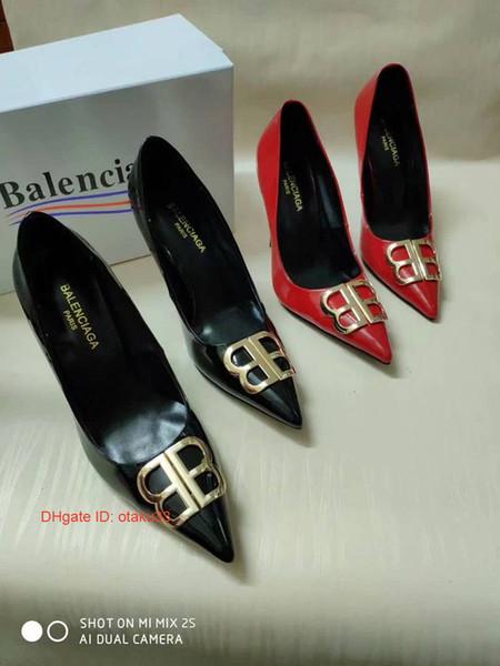 Top-Qualität des hohen Absatzes Sandalen Rindsleder Einzelne Schuhe für Frauen arbeiten Pantoffel Frauen lässige Sandalen Damen mit Kasten