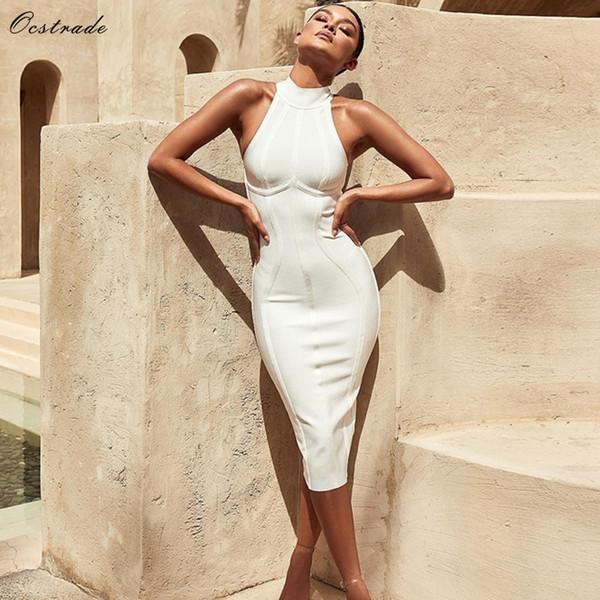 Ocstrade Sexy Women White Bandage Dress 2018 New Arrivals Striped Halter Midi Bodycon Dress High Quality Bandage Rayon