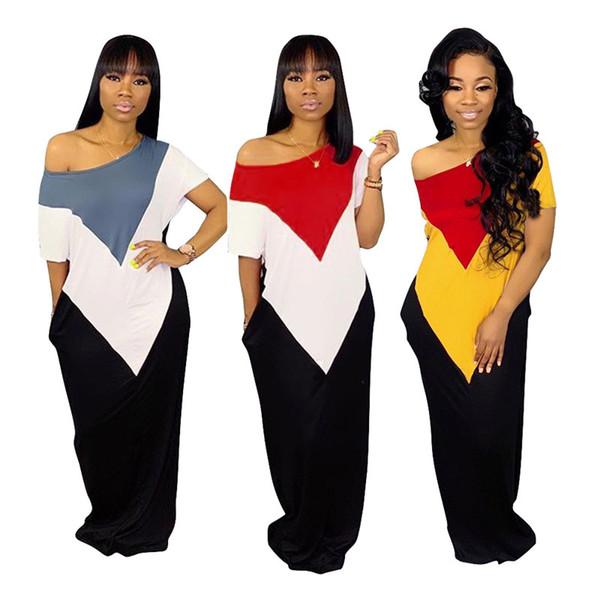 Women Designer Summer Maxi Dresses Short Sleeve Long Skirts Panelled Loose Dress Sexy Plus Size S-3XL clothes 354