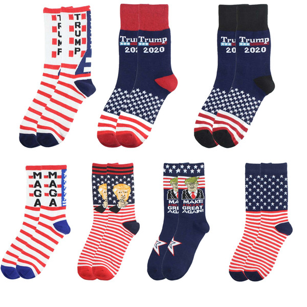 top popular Creative Trump Socks Make America Great Again National Flag Stars Stripes Stockings Funny Women Casual Men Cotton Socks Free Shipping DHA82 2021