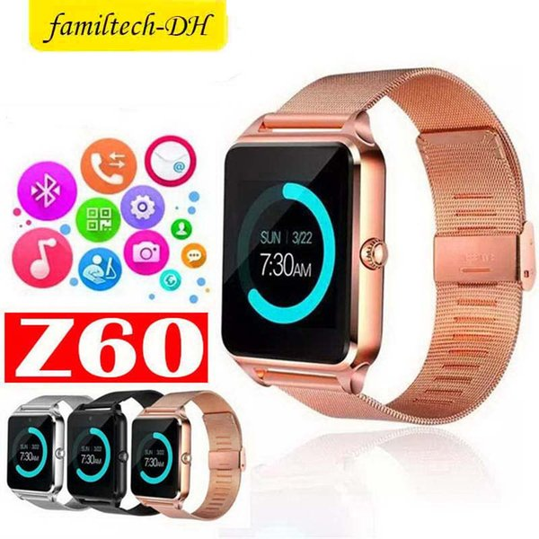 Z60 Bluetooth Smart Watch Men Smartwatch Android ios Phone Call 2G GSM SIM TF Card Camera Touch clock reloj inteligente Smart Bracelet