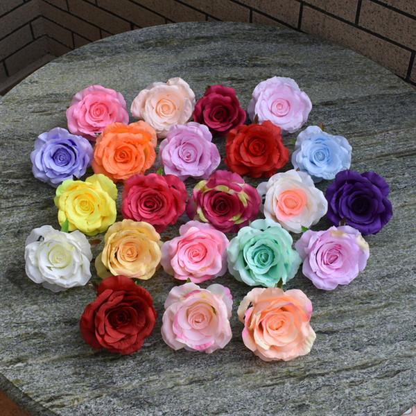9cm silk rose heads artificial flowers DIY wedding decoration garland flower wall white red pink peach C18112601