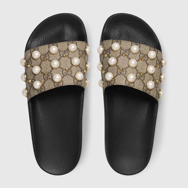 G hommes femmes pantoufles en cuir goujons talons plats unisexe sandale pantoufles transparentes diapositives sandales plage en plein air tongs 34-46
