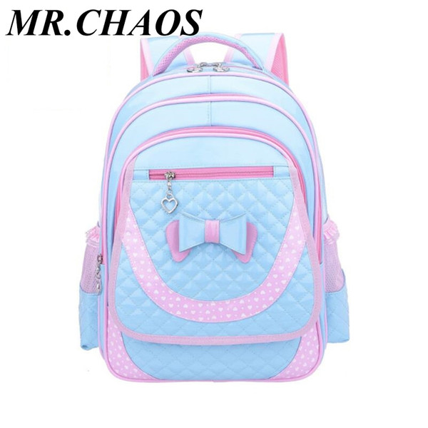 children backpacks for girls school bags kids cute bowknot pink blue PU leather backpack girl schoolbag bagpack dropshipping
