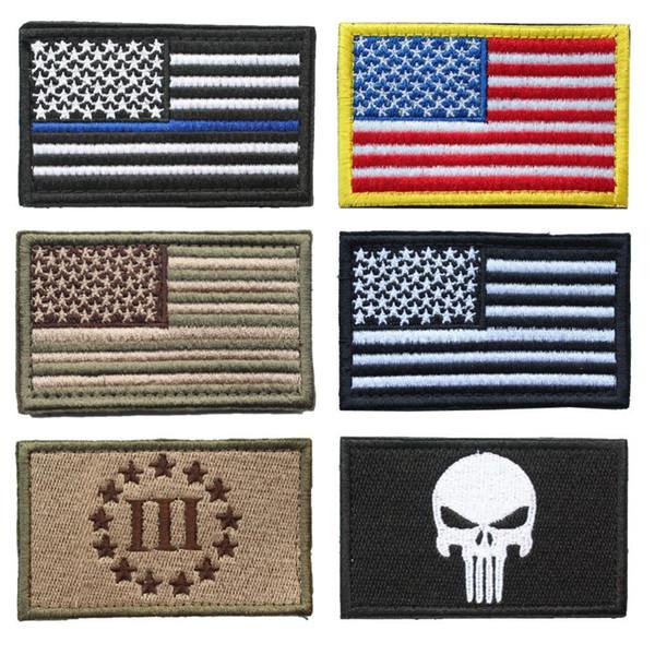 ABD bayrağı yama Paket 6 Parça Amerikan Ince Mavi Çizgi Polis Bayrağı Üç Percenter Taktik Tamamen Işlemeli Moral Etiketleri Yama