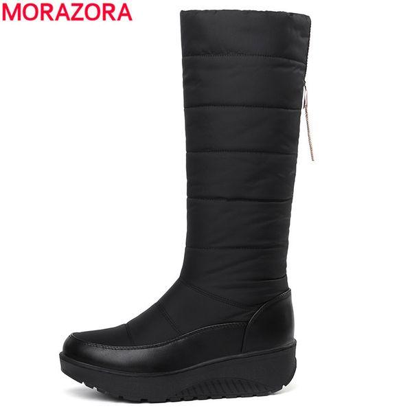 2019 MORAZORA 2018 New Warm snow boots women thick fur ladies mid calf boots tassel soft pu leather platform women's winter boots