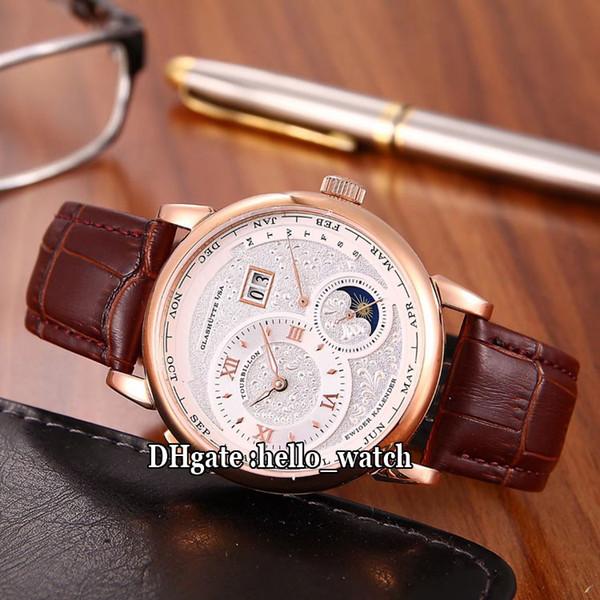 Cheap New 139.025 / 139.032 Branco Dial Automática Fase da Lua Mens Watch Caixa De Aço Marrom Pulseira De Couro de Alta Qualidade Gents Relógios