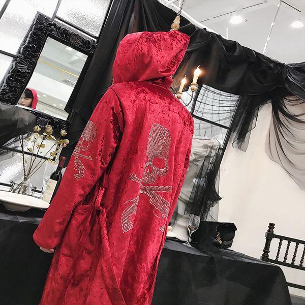 2018 Winter Men's Fashion Hat Windbreaker Loose Coat Style Long Trench Thicken Velvet Cardigans In Warm Red/black/blue