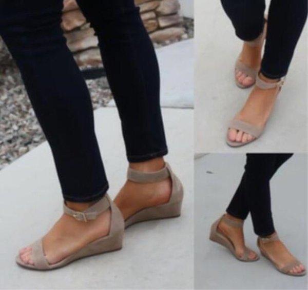 Frauen Sommer Sandalen Wort Schnalle Strand Urlaub Im Freien Keile Khaki Schwarz Einfache Mode Neue Schuh Heißer Verkauf 30sl D1
