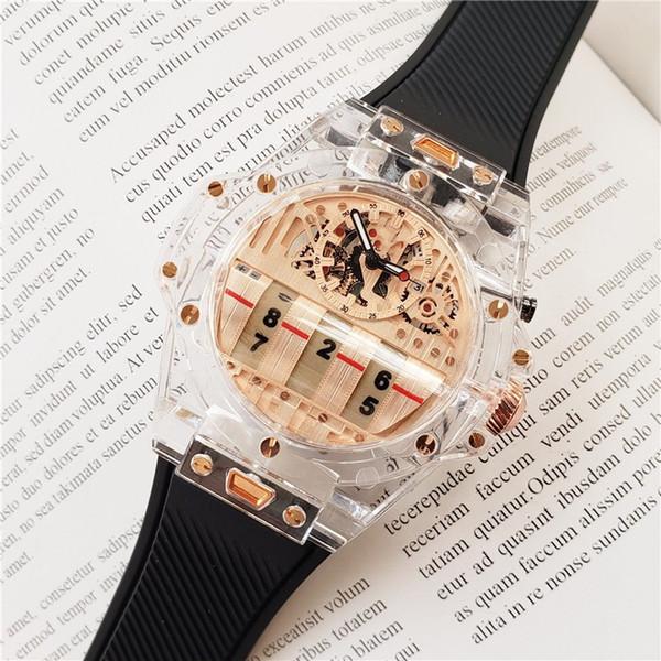 TOP Cronógrafo de cuarzo para hombre Reloj Japón Movimiento Todos los pernos de trabajo Correa de goma Esqueleto Reserva Reloj de pulsera Envío Gratis