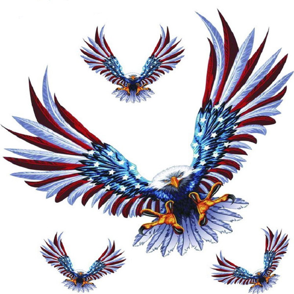 1set/4pcs Fashion Reflective Eagle Decal Vinyl Car Stickers Auto Door Hood Cover Sticker Car Styling Wholesale