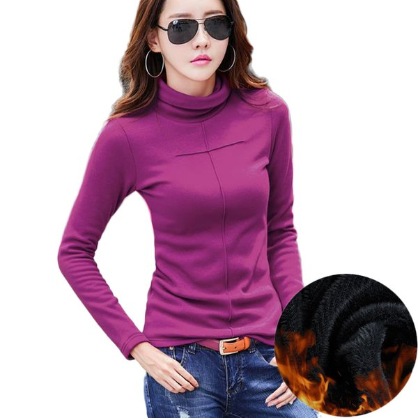 Winter new design velvet thick warm flannel ladies cotton top women's T-shirt long-sleeved shirt Blusas Plus size