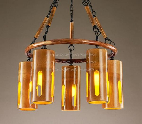 Luz pendiente de la lámpara de bambú creativo personalizado retro sudeste asiático lámparas industriales bar temático restaurante pasillo café club MYY