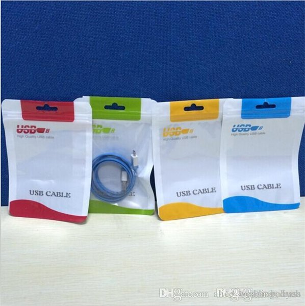 Flat Braided Cable Bag Plastic Zipper Poly Bag Retail Package For Iphone 6 7 8 X Samsung Huawei LG HTC Mobile Phone USB Charger NEW