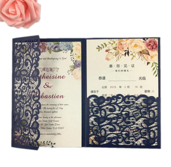 Pink Glitter Dark Blue Burgundy Hollow Laser Cut Tri Fold Gold Ivory Flower Pocket Fold Wedding Invitation Cards Birthday Card Designs Birthday Card