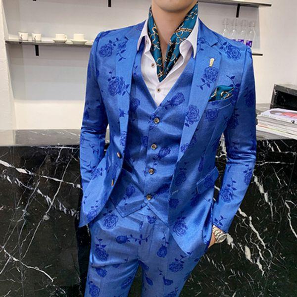 Chinese Suit Terno Slim Fit Groomsmen 3 Piece Mens Suits for Wedding Men Costume Homme Rose Floral Groom Suits traje novio 2019