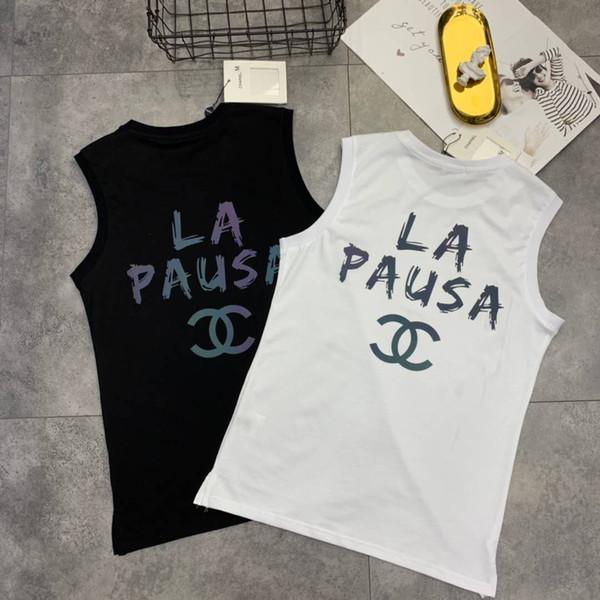 Новое поступление бренда 2019 женская майка дизайнер на лето дышащая повседневная одежда без рукавов с печатью письма Balck и белый M-2XL