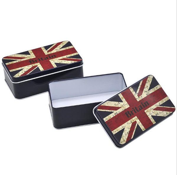 Metal cigarette box with meter-shaped flag pattern portable cigarette box with large horse-mouth iron cigarette box