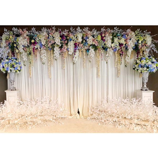 Fondali bianchi per matrimoni Fotografia Floral Fondali in vinile stampato Flower Blossoms Stage a tema Photo Booth Background
