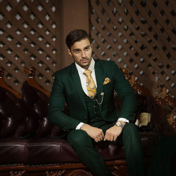 Green Blazer Men Tuxedo Suit Jacket Men Suits for Wedding Slim Fit 3 Pieces Custom Formal Suit with Pants Vest Custom Made