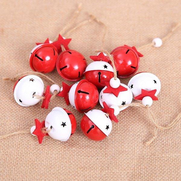 Rouge blanc Jingle Bells Arbre De Noël Suspendus Ornements En Métal Clochettes De Noël Décoration Couleur pendentif De Bricolage Artisanat