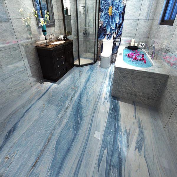 PVC auto-adhésif étanche Fond d'écran mural Moderne Simple Bleu Marbre 3D Sol Carrelage mur papier Salle de bain Cuisine 3 D Décoration d'intérieur