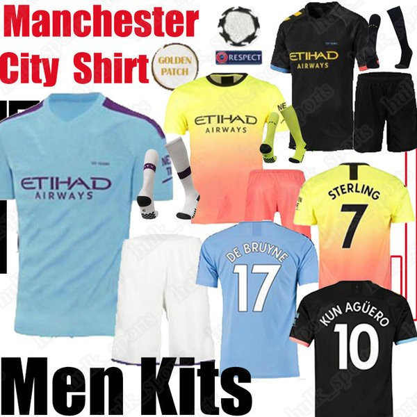 best selling STERLING DE BRUYNE KUN AGUERO 19 20 manchester soccer kits city jersey football shirt G.JESUS MAHREZ men kit set adult uniform