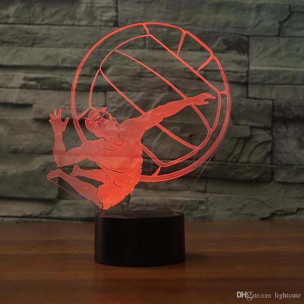 Adam oyun voleybolu 3D Illusion Gece Işığı Dokunmatik 7 Renk Değişimi Ev Dekorasyonu Bebek Kız Erkek LED Lamba Çocuk Hediye Noel Noel Hediye