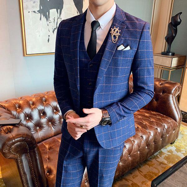 Terno İnce Masculino Katı Renk İki Düğme Ekose Suit Erkekler İş Elbise Gece DJ Erkek Takımları