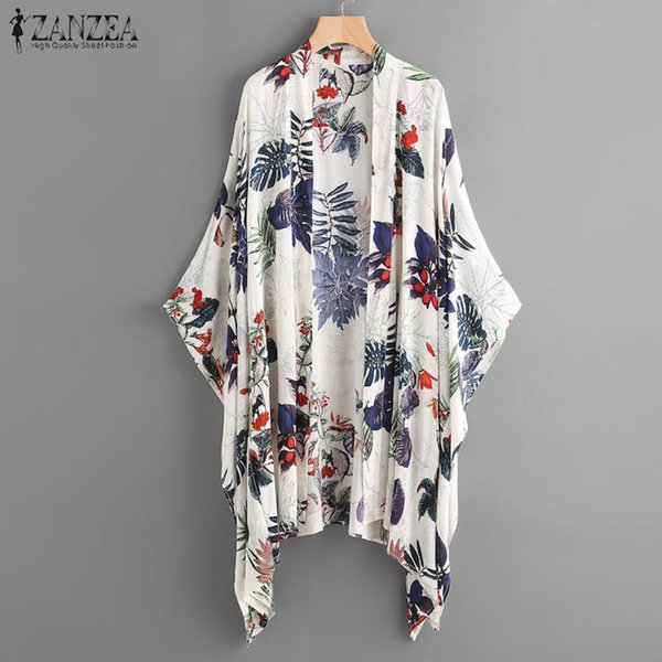 ZANZEA Women Floral Printed Blouse Kimono Tops Plus Size Shirt Ladies Open Front Cardigan Summer Bikini Cover Up Beach Blusas