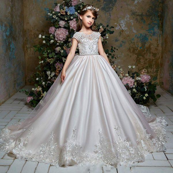 Flower Girls Dresses For Weddings Formal Kids Wear For Party Communion Dress Prom Train Girls Pageant Dress