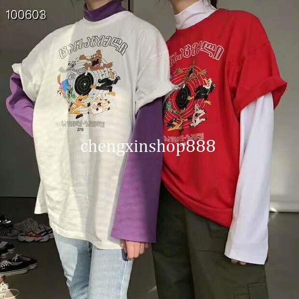 2019SS Best version Vetements Lettera stampa animalier oversize Donna T-shirt uomo T-shirt Hip-hop casual 3 colori