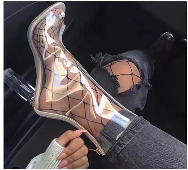Sıcak Satış-Seksi PVC Şeffaf Gladyatör Sandalet Peep Toe Kim Kardashian Ayakkabı Temizle Tıknaz Topuklar Sandalet Mujer Kadın Çizmeler 11 CM