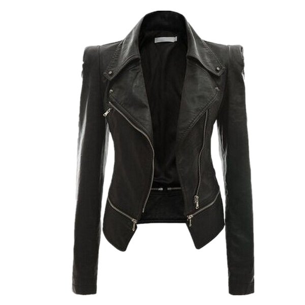 Motorcycle PU Leather Jacket Women Winter and Autumn New Coat 4 Color Zipper Outerwear Jacket New 2018 Coat HOT Py01