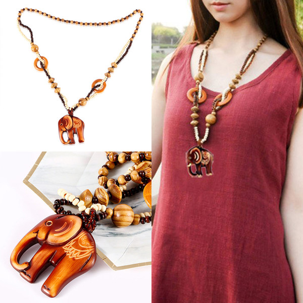 Long Made Wood Pendant Necklace Fashion Jewelry Bead Boho Style Hand Ethnic