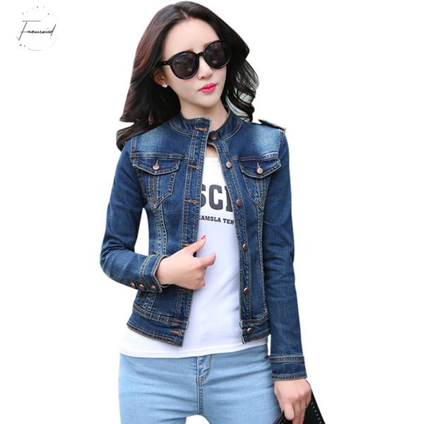 Yeni Temel Coats için Moda Ceket Dış Giyim Geliş Bayan Denim ceketler Vintage Casual Tek Breasted Coat Kadın Jean