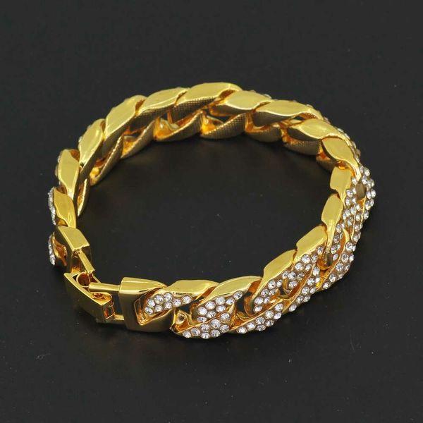 hip hop Cuban chain diamonds bracelets for men western hot sale 1.4cm 22cm Stainless steel chain bracelet simple fashion jewelry