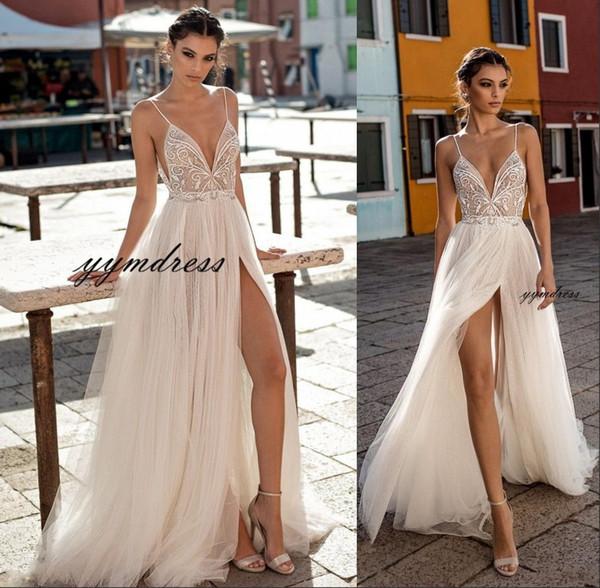 2019 Gali Karten Beach Wedding Dresses Side Split Spaghetti Sexy Illusion Boho A-Line Wedding Dresses Pearls Backless Bohemian Bridal Gowns