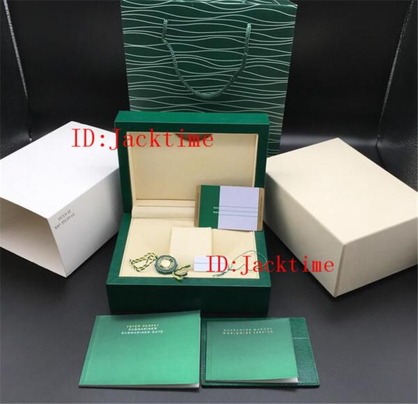 Top Personalizado Modelo De Impressão Número De Série No Cartão De Garantia Melhor Qualidade Caixa De Relógio Verde Para Todas As Séries Rolex Caixas Relógios Brochuras Tags Papers