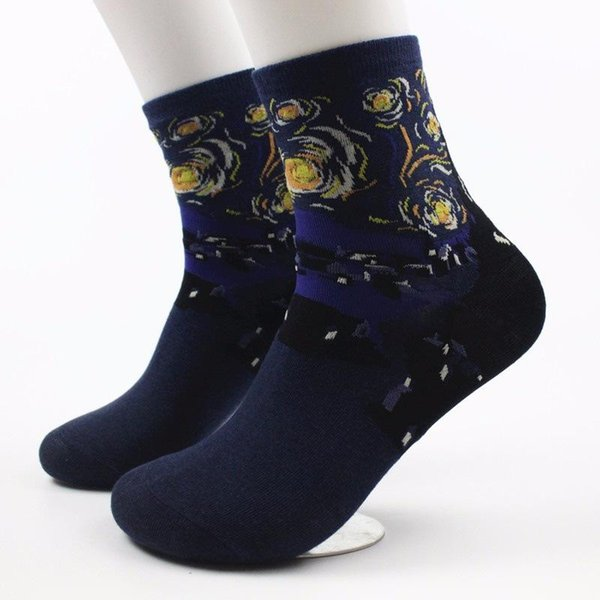 Feminino Meias Retro pintura famosa Presente Moda feminina Homens New Art Socks Vintage Socks 4 cores Tamanho livre bonito
